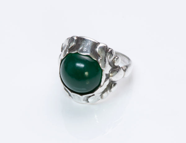 Georg Jensen Silver Green Onyx Ring 11A