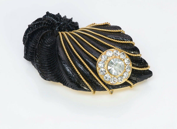 Gianfranco FERRE Couture Black Resin Rope Crystal Large Shell Brooch
