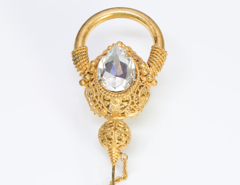 Gianfranco Ferre Gold Tone Crystal Brooch Pin 3