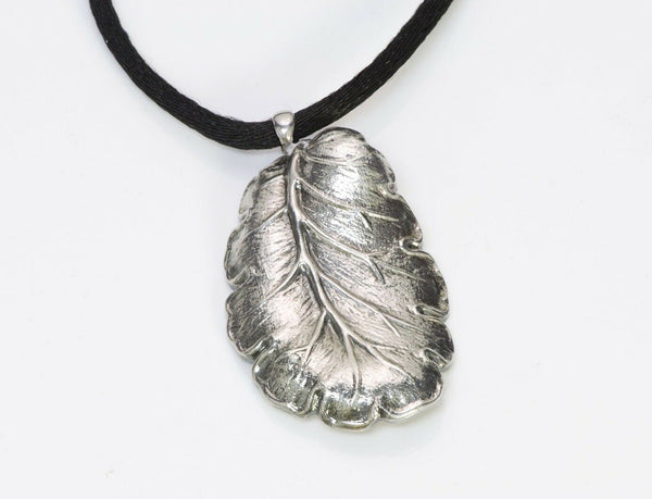 Gianmaria Buccellati Sterling Silver Leaf Pendant Necklace