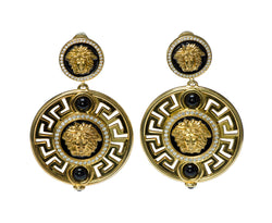 Gianni Versace Medusa Diamond Enamel Gold Earrings Limited Edition N°002