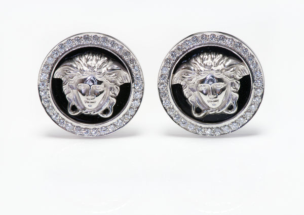 Gianni Versace 18K Gold Enamel Diamond Medusa Cufflinks