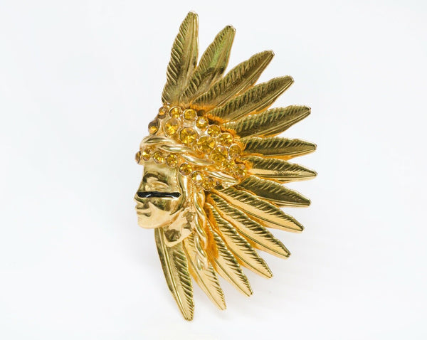 Gianni Versace Gold Tone American Indian Crystal Scarf Ring