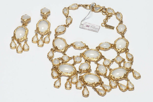 Gianni de Liguoro Opaline White Glass Necklace Earrings Set