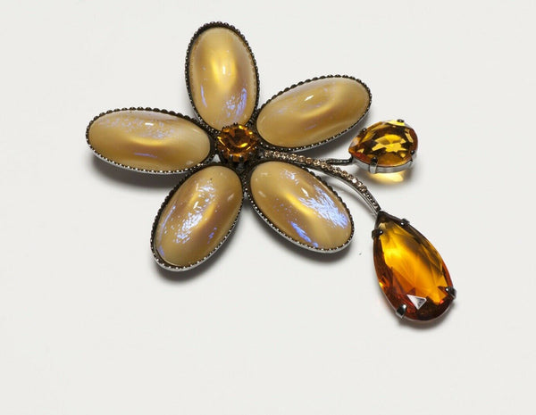 Giorgio Armani Yellow Poured Glass Flower Brooch