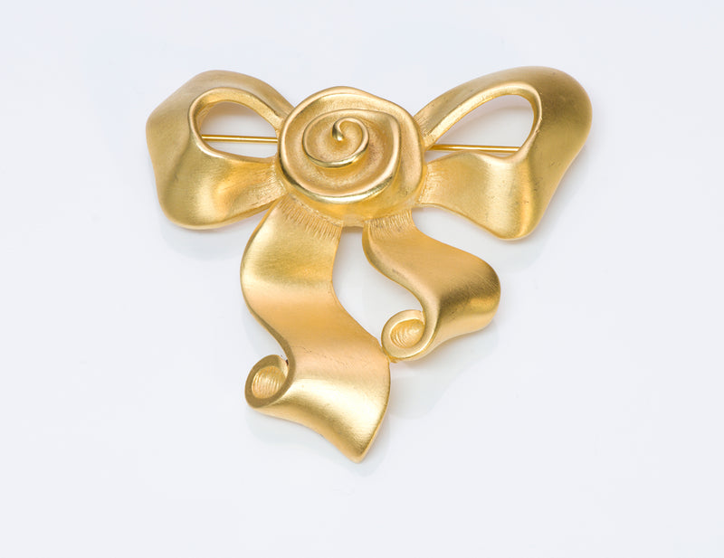 Givenchy Gold Tone Bow Brooch