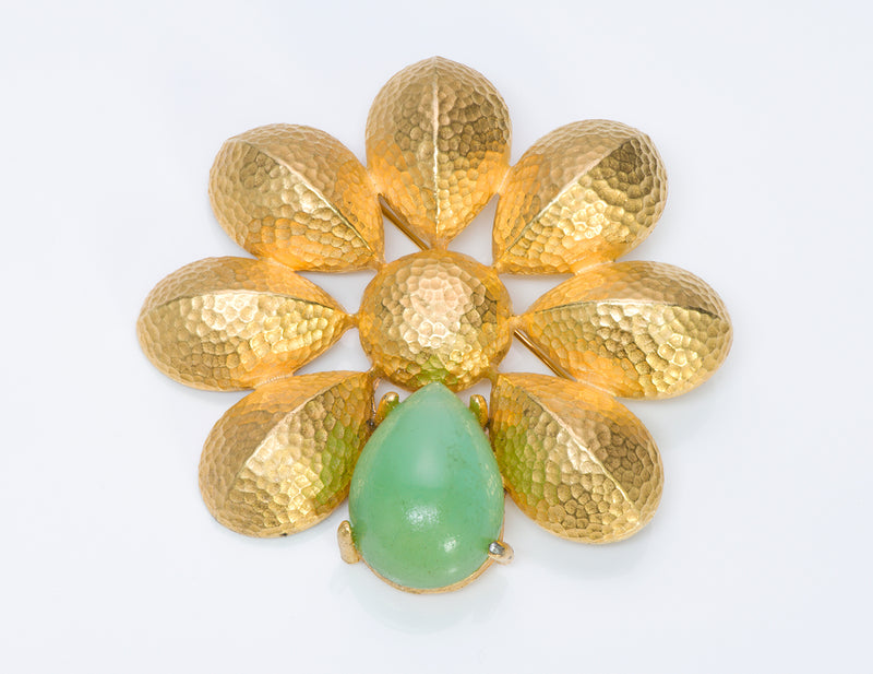 Givenchy Hammered Gold Tone Green Crystal Brooch 1