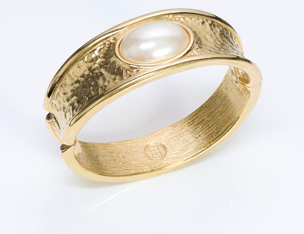 Givenchy Paris Gold Tone Hammered Pearl Bangle Bracelet