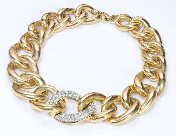 Givenchy Gold Tone Crystal Chain Link Necklace