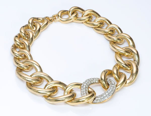 Givenchy Gold Tone Crystal Chain Link Necklace 1
