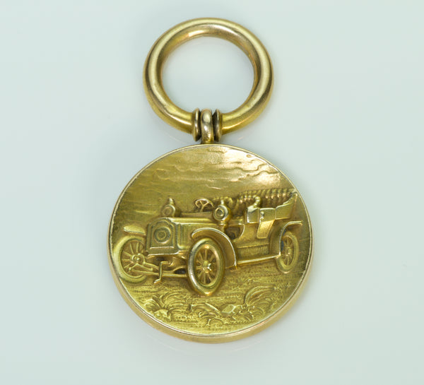 Antique Pendant Fob Gold Car