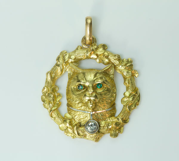 Cat Diamond Gold Pendant