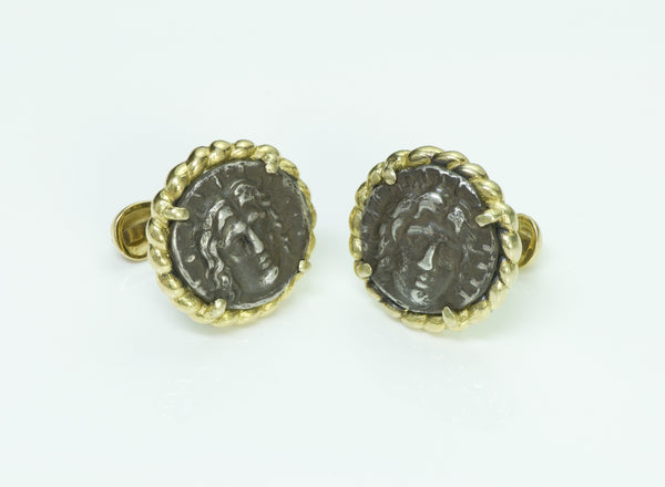 Vintage 18K Yellow Gold Coin Cufflinks