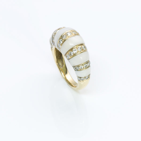 Coral Diamond 18K Yellow Gold Ring