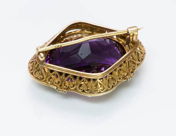 Antique Amethyst 18K Gold Brooch