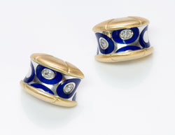 Diamond 18K Gold Enamel Earrings