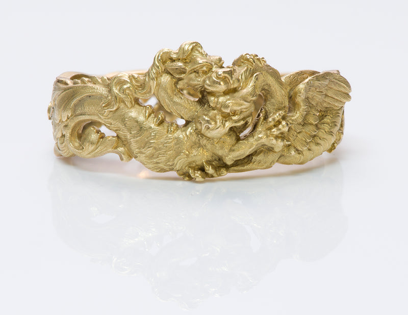 Antique Art Nouveau Gold Griffin Clip