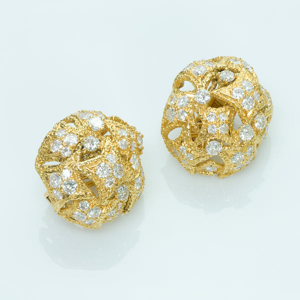 French Gold and Diamond Earrings