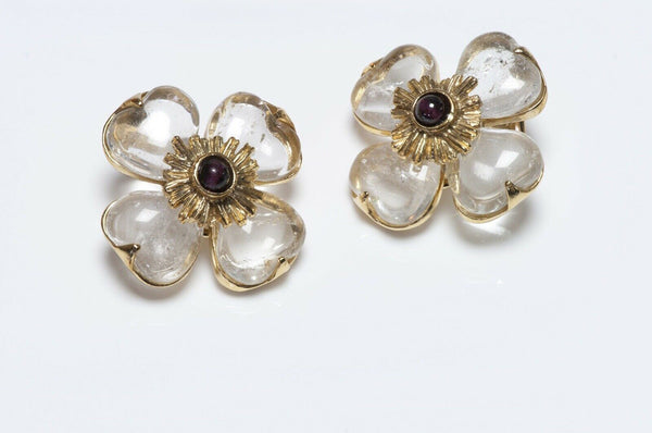Goossens Paris Rock Crystal Garnet Flower Earrings