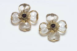 Goossens Paris Rock Crystal Quartz Garnet Flower Earrings