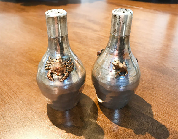 Gorham Antique Crab Mouse Mixed Metal Salt & Pepper Shakers
