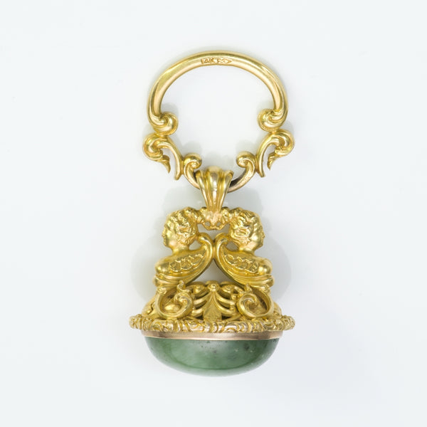 Antique 14K Yellow Gold Green Agate Fob