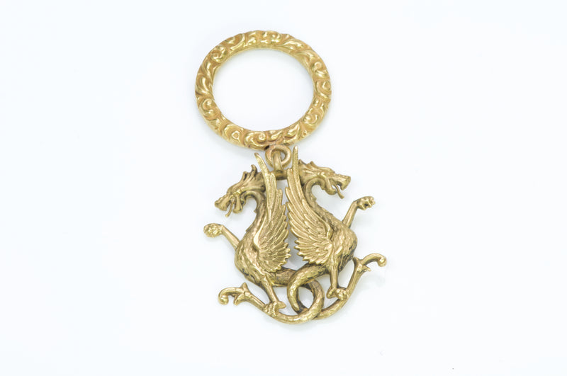 Antique Yellow Gold Griffin Fob