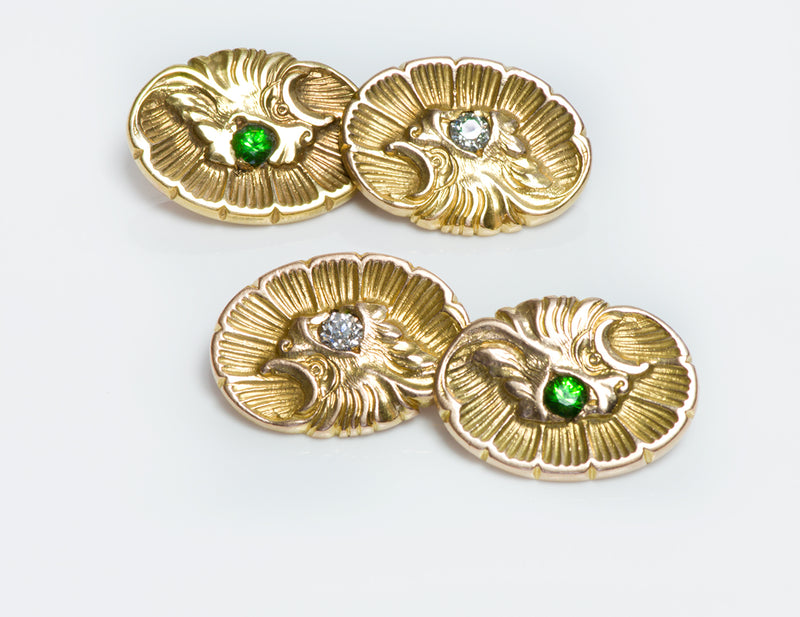 Antique Demantoid Diamond Shell Griffin Gold Cufflinks