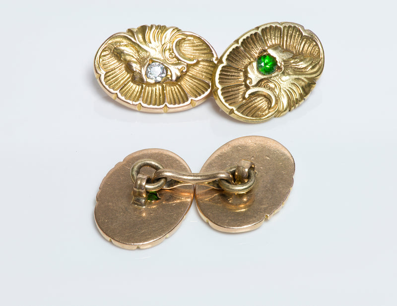 Shell Griffin Gold Cufflinks Antique Demantoid Diamond