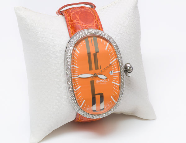 Grimoldi Diamond Orange Dial Watch