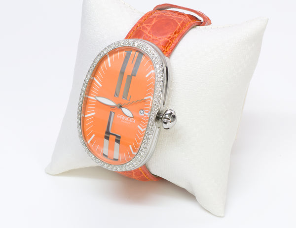 Grimoldi Diamond Orange Dial Watch Mens