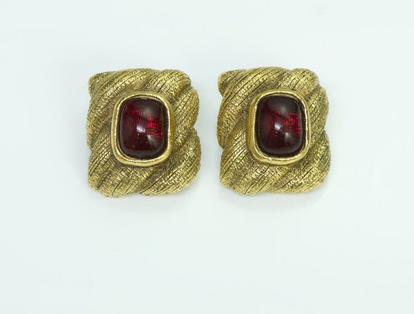 Chanel 1980's Gold Tone Gripoix Earrings