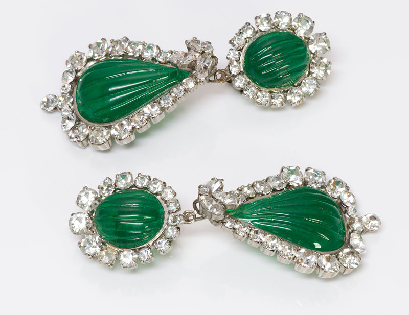 Maison Gripoix Green Poured Glass Earrings C. Dior