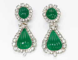 Christian Dior Maison Gripoix Green Poured Glass Earrings