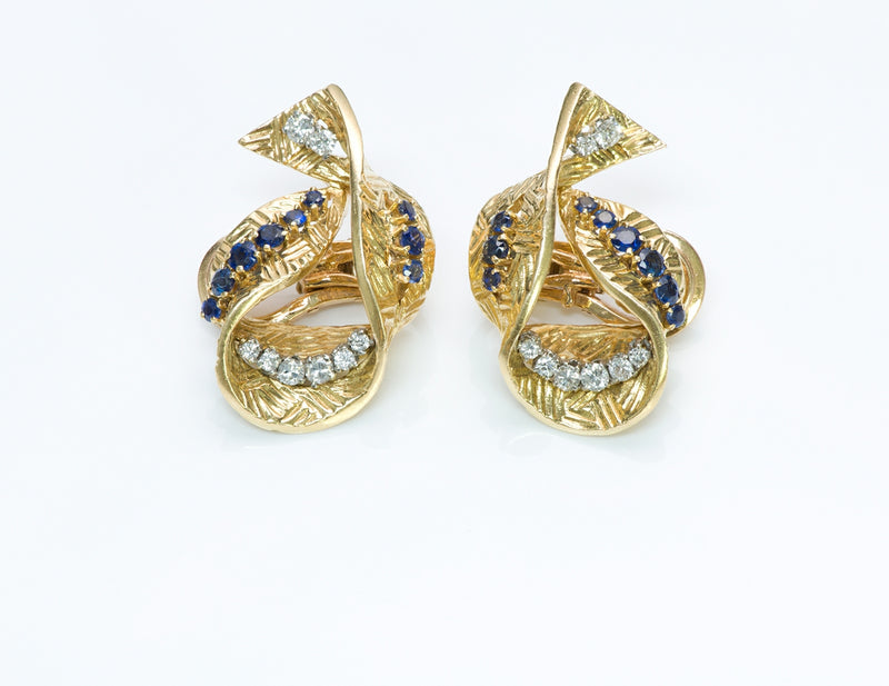 Gübelin Sapphire Diamond Gold Earrings