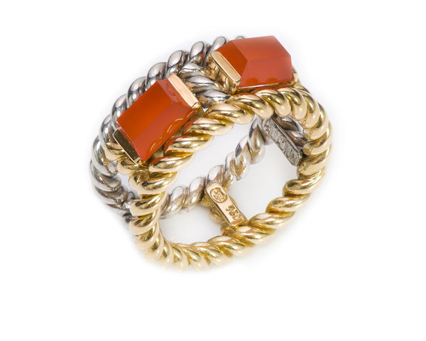 Gübelin Palladium 18K Gold Carnelian Ring
