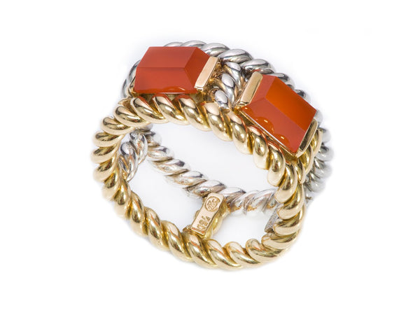 Gübelin Palladium 18K Gold Carnelian Rope Ring