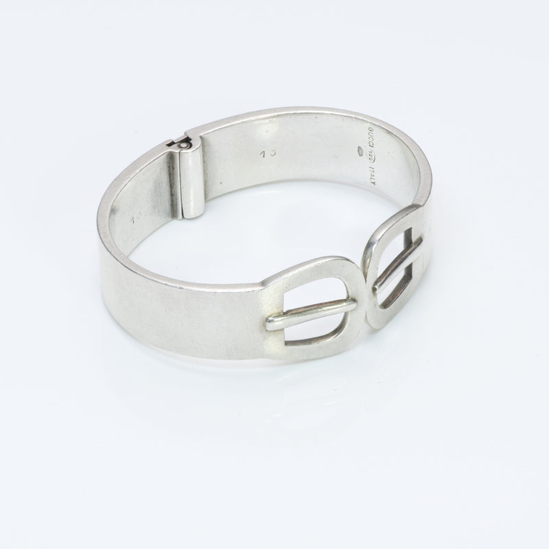 Gucci Silver Buckle Bangle Bracelet