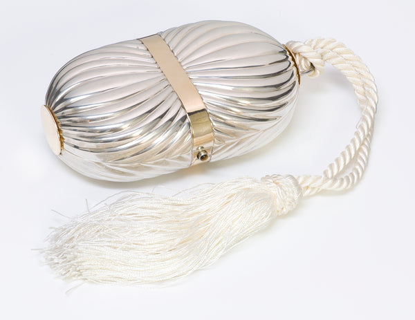 Gucci Sterling 18K Gold Tassel Minaudiere Clutch Bag