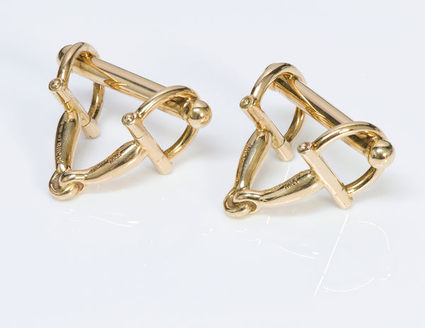 Gucci 18K Yellow Gold Horsebit Cufflinks