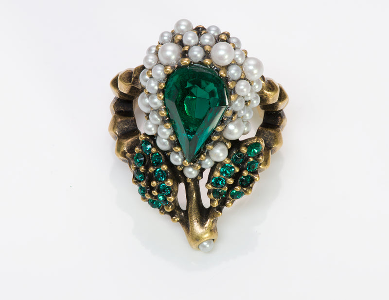 Gucci Green Crystal Cocktail Pearl Ring