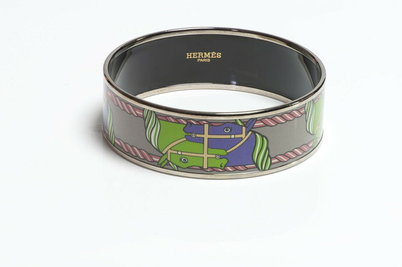 HERMES Green Purple Enamel Equestrian Bangle