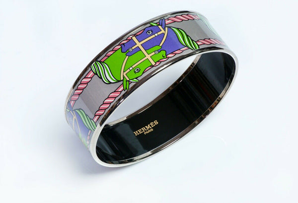 HERMES Green Purple Enamel Equestrian Bangle Bracelet