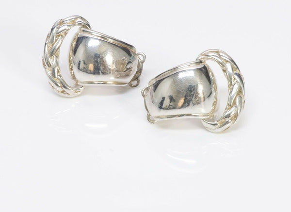 HERMES PARIS Sterling Silver Rope Clip Earrings