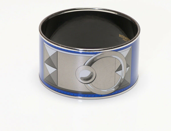 HERMES Paris Blue Enamel Collier de Chien Bangle Bracelet