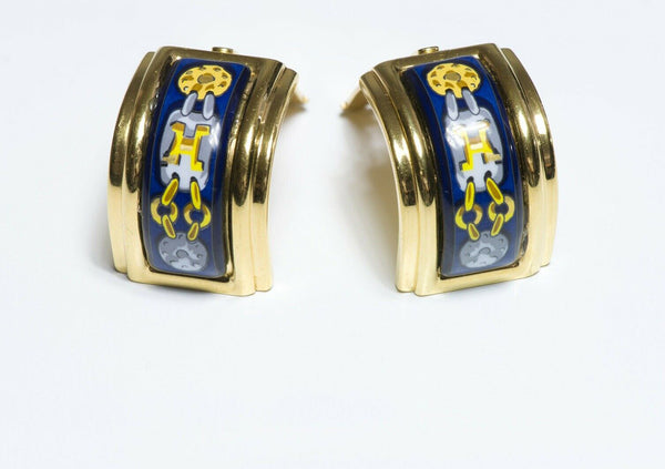 HERMES Blue Enamel Chain Pattern Earrings