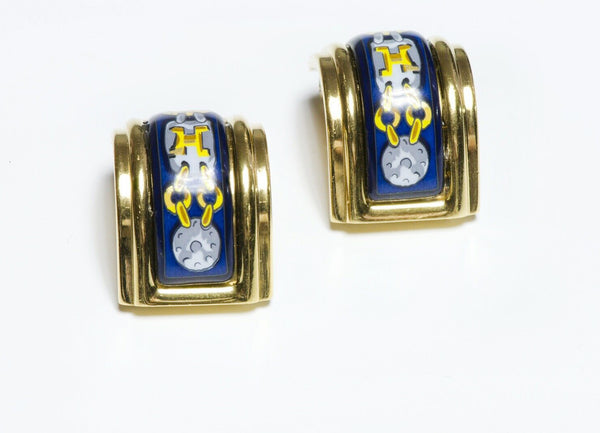 HERMES Paris Blue Enamel Chain Pattern Earrings