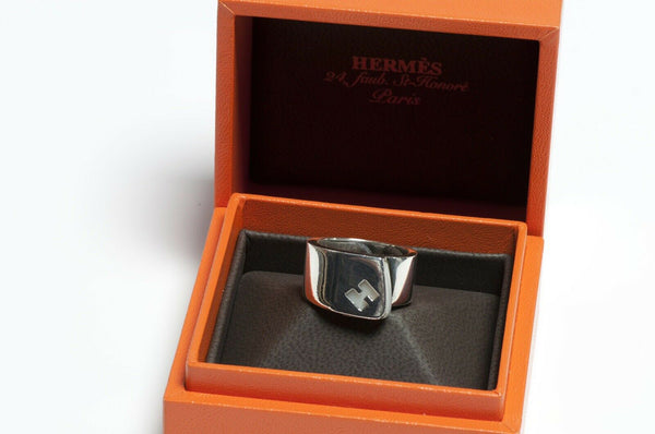HERMES Paris H Sterling Silver White Enamel Ring