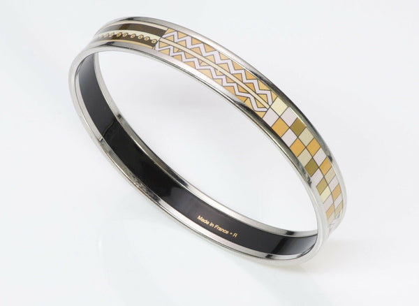 HERMES Brown Green Enamel Bangle Bracelet