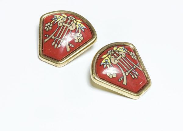 HERMES Red Enamel Earrings